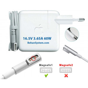 Apple Laptop Notebook MacBook Charger Adapter 16.5V 3.65A 60W Magsafe (5 pin magnet L tip)
