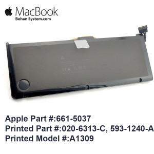 Apple A1309 A1297 Battery For Macbook Pro 17 020-6313-C, 593-1240-A,661-5037