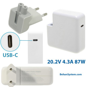 Apple Power Adapter A1719 20.2V-4.3A 87W USB-C TYPE C for MacBook Pro retina Touch Bar A1707