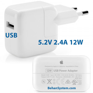Apple Ipad 12W Tablet Travel Wall Charger Power Adapter USB 3 5.2V 2.4A A1401