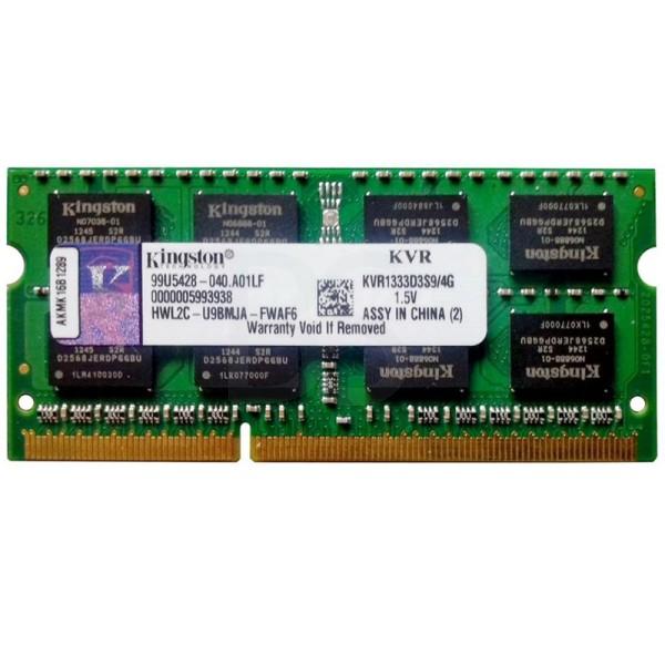 رم لپ تاپ Kingston PC3-10600 با ظرفیت 4GB و فرکانس 1333 مگاهرتز